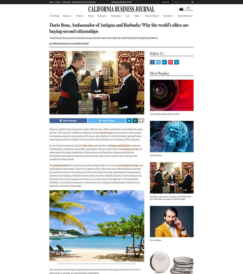Ambassador Dario Item of Antigua and Barbuda: Why the country is ideal for luxury travelers